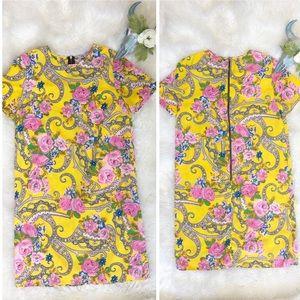 ASOS Yellow Pink Floral Paisley Shift Dress